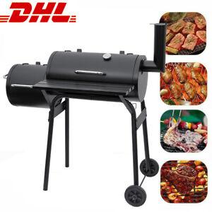 XL Holzkohlegrill Smoker Grillwagen BBQ Grill Standgrill Räucherofen Schwarz