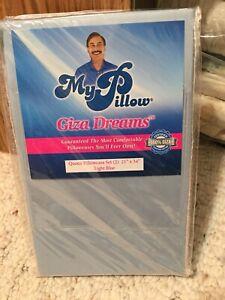 NEW My Pillow Giza Dreams Sheets Queen Pillowcases Set Of 2 Light Blue NIP