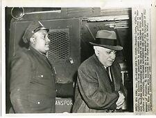 Frankie Carbo in handcuffs for boxing corruption Mafia 1959 original wire photo