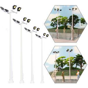 4pcs Model Railway HO Scale Plaza Lamppost 4-leds 10.5cm 1:87 Playground Lights