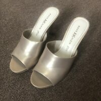 ANNE KLEIN Soft Gold Leather Heeled Mules Shoes Size 7