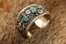 Signed NAVAJO Yazzie Turquoise Sterling Silver Cuff Bracelet - Stamped Handmade