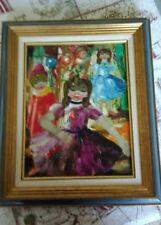 Superbe Peinture de Nino GIUFFRIDA, scène de Carnaval avec enfants