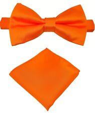 Fliege + Einstecktuch Schleife Querbinder Binder de Luxe 621 orange Krawatten