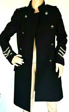 Pierre BALMAIN Military Black Silver Embellished Wool Coat Jacket US 2 / FR 34
