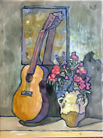 "Flowers Still Life Abstract Oil Painting, 18""x24"" Original Signed on Canvas"