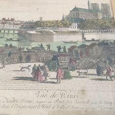 VUE OPTIQUE Milieu XVIIIè Paris Notre Dame vue des Bords Seine époque Louis XV B