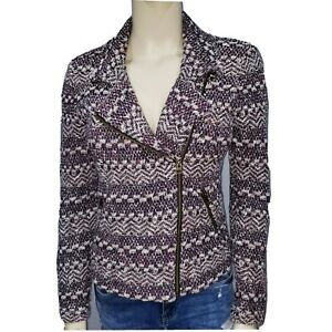 Lucky Brand Womens M Zip Up Textured Moto Style Jacket Sz Medium
