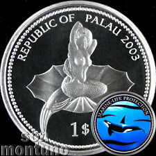 2003 Palau $1 ORCA WHALE & MERMAID Marine Life Protection Ag Plated Copper Coin