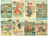 Vintage Seaside In Summer Glossy Finish Card Making Topper Craft Embellishment