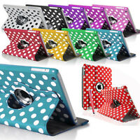 Pu Leather 360 Rotating Polka Stand Case Cover for Apple iPad 2 3 4