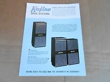 VINTAGE AD SHEET #2136 - KUSTOM KASINO BASS GUITAR AMPLIFIERS