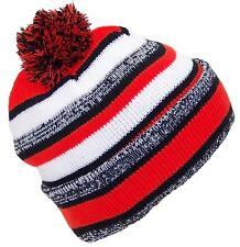 Best Winter Hats Quality Variegated Cuffed Cap W/Large Pom #793 Black/Orange