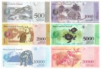 VENEZUELA 500 - 20000 BOLIVAR PAPER MONEY UNC | 6 BANKNOTEN SET 2016 - 2017 UNZ