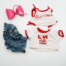 Build a Bear Jean Skirt, 2 Tshirts Outfit Lot with Disney bow