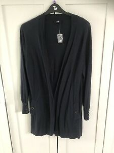 Wallis Long Navy Blue Cardigan With Pockets And Buttons Size Large Uk Euro 44-46