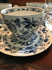 4 Johnson Brothers Saxony Cup and Saucer Set Blue White Jacobean Ironstone