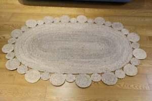 Rug 100% Natural Jute reversible oval rug living modern area carpet handmade rug