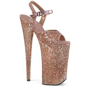 """Pleaser 10"""" rose gold glitter platform sandals"""