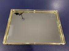 """Vintage Mirrored Glass Dresser Tray - Brass Vanity Dresser Boudoir 13"""" X 9"""""""