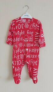 Christmas Print Babygrow. Age 0-3 Months. Baby Christmas All In One, Red