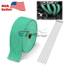 "Green Teal Exhaust Pipe Insulation Thermal Heat Wrap 2"" x 50' Motorcycle Header"