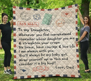 Air Mail - Best Gift from Dad - To My Daughter Sofa Quilt, Fleece Blanket Gift