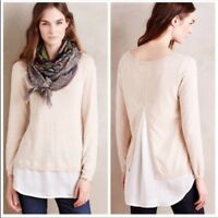 Anthropologie Angel of the North Layered duet pullover sweater cream Size XS