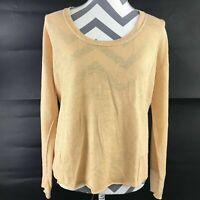 Eileen Fisher Womens Small Yellow Scoop Neck 100% Linen Oversized Sweater