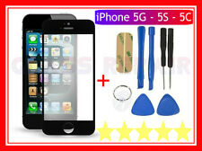VETRO VETRINO Glass per APPLE iPhone 5 NERO+BiADESIVO 3M+Kit Utensili Smontaggio