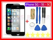 VETRO VETRINO Glass per APPLE iPhone 5 NERO+BiADESIVO 3M+Kit Utensili Smontaggio
