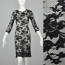 XS 1990s Black Stretch Lace Dress Sheer LBD Sexy Cocktail Evening Bodycon 90s