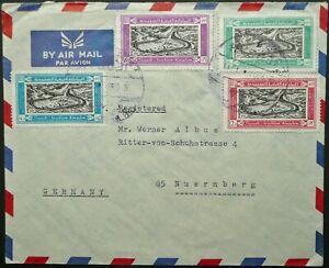SAUDI ARABIA 26 JUN 1965 REGIST. AIRMAIL COVER FROM JEDDAH TO NURNBERG, GERMANY
