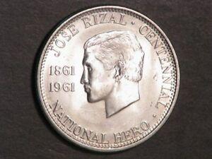 PHILIPPINES 1961 1/2 Peso Jose Rizal Silver BU