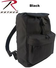 Black Canvas Military Day Pack Backpack Army Knapsack Rucksack School Bag 2369