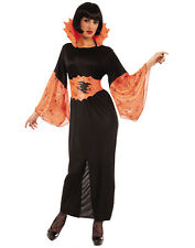 Spider Sorceress Black Orange Adult Witch Halloween Costume-Std
