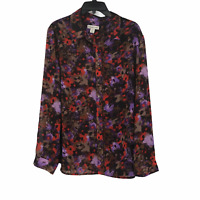 Coldwater Creek Womens Multicolor Button Front Sheer Long Sleeve Top Size 1X