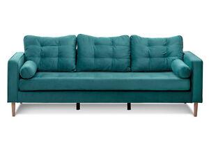 Sofa Couch 3-Sitzer 3-Sitzer-Sofa Samtbezug + 2Rollen GLAMMI Bezug Samt 3 Farben