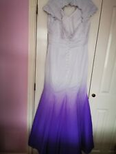 Wedding Dress / Ball Gown - White & Purple - Size 14 - Fluted