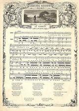 """GUSTAVE NADAUD ROUBAIX CHANSON """" LE POMMIER """" GRAVURE ILLUSTRATION 1863"""