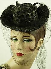 Sombrero Vintage 1930s francés, Equitación Sombrero Estilo Damas Sombrero de inclinación, paja y fino cubrían