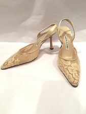 100% authentic Manolo Blahnik lace heels, size 37.5