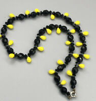 Unusual Vintage Faceted Black Glass & Smooth Yellow Tear Drop Bead Necklace #171