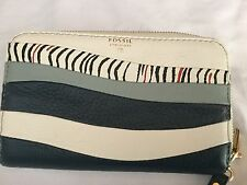 RARE! FOSSIL Medium Sized Zipper Phone/Wallet WAVE Blue and White