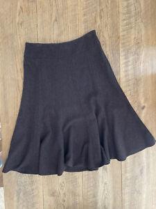 Max Mara Vintage Low Rise Lined Herringbone Wool Fit n Flare Panel Skirt, 12