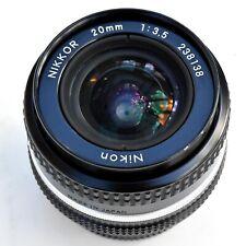 Nikon Nikkor 20mm f/3.5 AIS super shp Manual Focus Lens. Mint-. See Test Imgs.