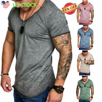 Men's Slim Fit O Neck Short Sleeve Gym Muscle Tee Casual T-shirt Tops Blouse USA