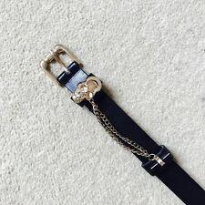 Cinturón jeans negros con Cadena de oro de cráneo. Size Uk S/M.
