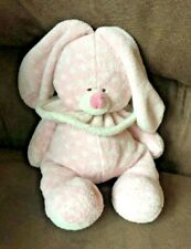 "TY PLUFFIES CUDDLEBUNNY  PINK W/ WHITE POLKA DOTS BUNNY PLUSH - 10"" TALL"