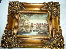 Vintage Lovely Original Painting Signed Jansma w/ Fabulous Carved Wood & Plaster